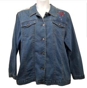 Bradford Exchange 3X Jean Jacket Embellished Flag